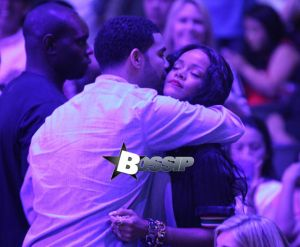 Drake and Rihanna at the Clippers game in LA