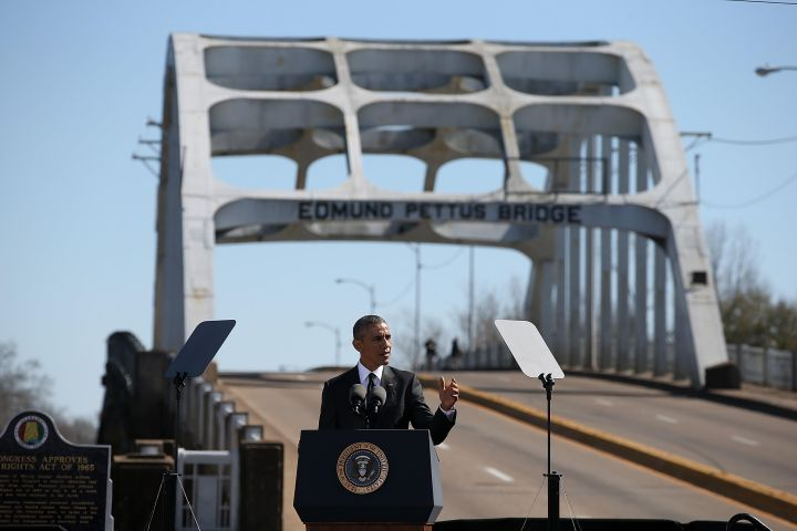 U.S. president Barack Obama speaks in front of the Edmund Pettus Bridge