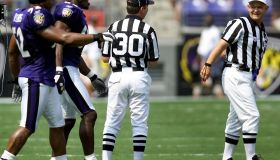 Baltimore Ravens team captians Ray Lewis (L) and S