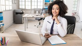 African businesswoman in modern workplace