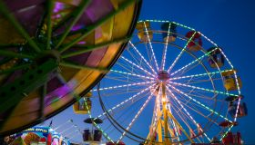 USA, Massachusetts, Cape Ann, Gloucester, Carnival rides during annual Saint Peters Fiesta