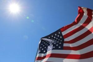 American flags blown in the wind in Malibu California