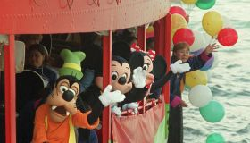 Mickey Mouse , Minnie Mouse and Goofy , Walt Disney cartoon characters , take the Star Ferry to Tsim Sha Tsui.