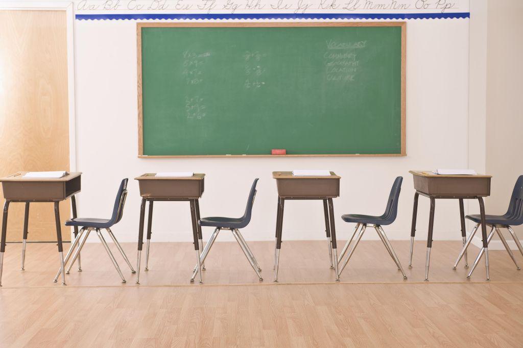 desks in row in classroom