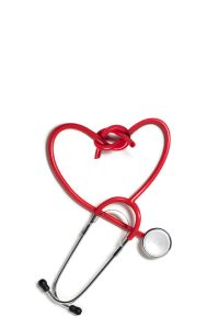 Repaired heart shaped red stethoscope