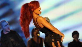 US singer Rihanna performs at an NBA All