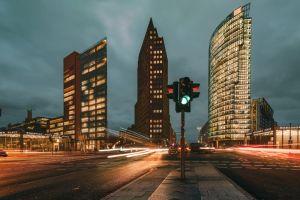 city lights of Potsdamer Platz in Berlin at blue hour