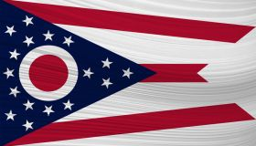 Waving flag of OHIO in United States.
