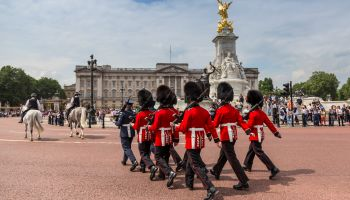Changing the Guard at Buckingham Palace, New Guard marching, colourful spectacle and British pageantry, London, England, United Kingdom, Europe