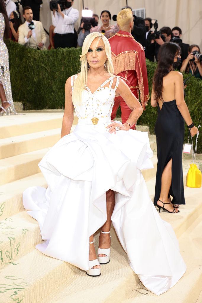 Donatella Versace wearing Versace